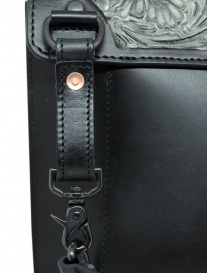 Gaiede leather bag with flap decorated in silver bags buy online