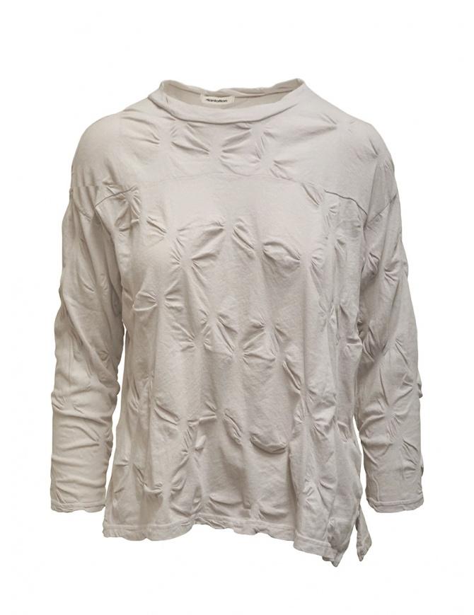 Plantation camicia con fiori in rilievo color sabbia PL07JJ146-24 GRAY camicie donna online shopping
