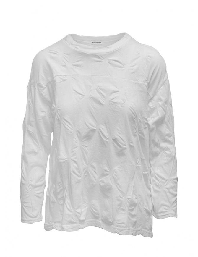 Plantation camicia bianca con fiori in rilievo PL07JJ146-01 WHITE camicie donna online shopping