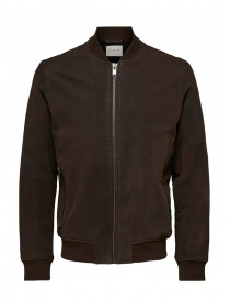 Mens jackets online: Selected Homme brown leather bomber