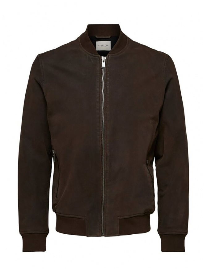 Selected Homme brown leather bomber 16070644 DELICIOSO mens jackets online shopping