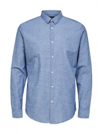 Selected Homme blue shirt in linen 16065883 MED.BLUE DENIM order online
