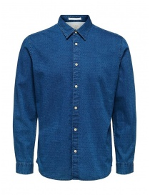 Camicia Selected Homme denim jacquard 16071925 BLUE DENIM order online