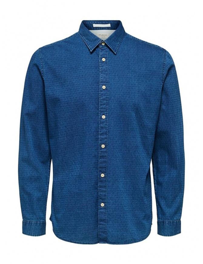 Camicia Selected Homme denim jacquard 16071925 BLUE DENIM camicie uomo online shopping