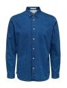 Selected Homme denim jacquard shirt buy online 16071925 BLUE DENIM