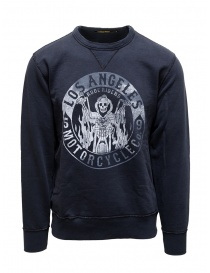 Mens knitwear online: Rude Riders blue Los Angeles Motorcycle sweatshirt