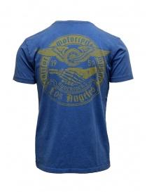 Rude Riders t-shirt blu con stampa gialla