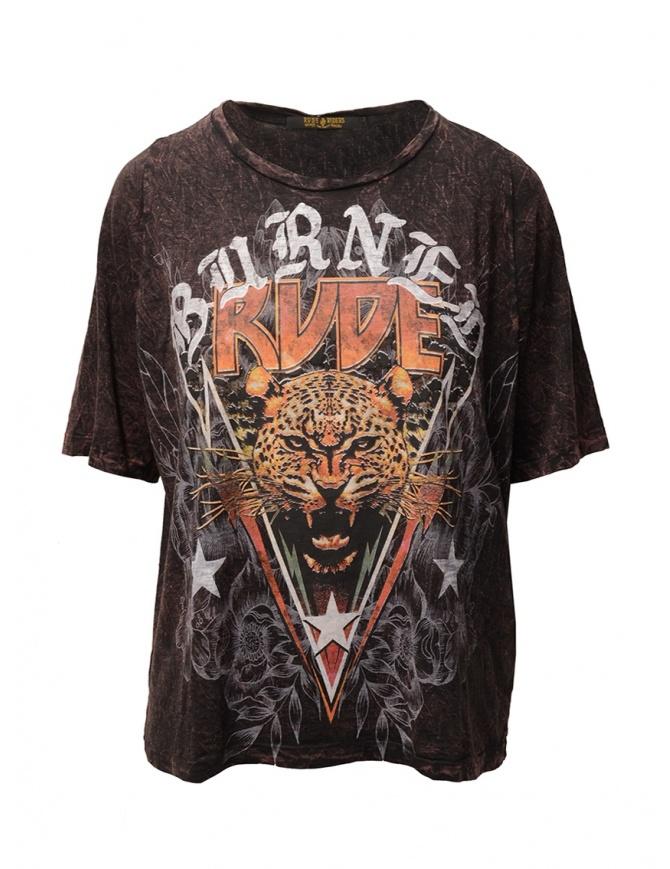 Rude Riders Burned Rude burgundy t-shirt R04522 86634 BURNED womens t shirts online shopping