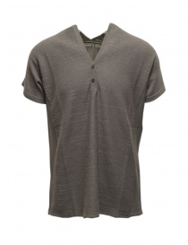 Mens knitwear online: Label Under Construction grey short sleeved knitted T-shirt