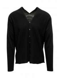 Mens cardigans online: Label Under Construction black cotton cardigan sweater