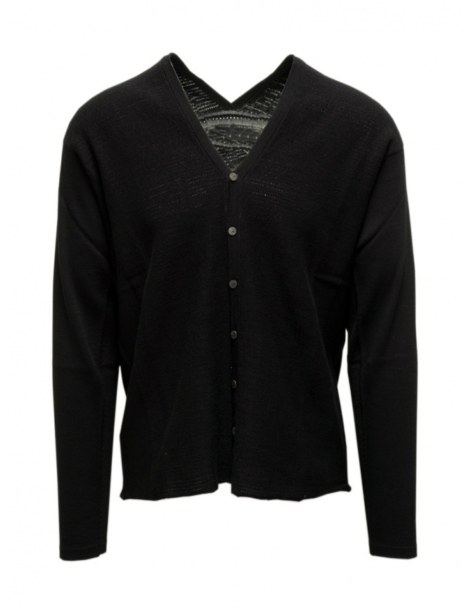 Label Under Construction black cotton cardigan sweater 35YXCR54 CO132 35/BK mens cardigans online shopping