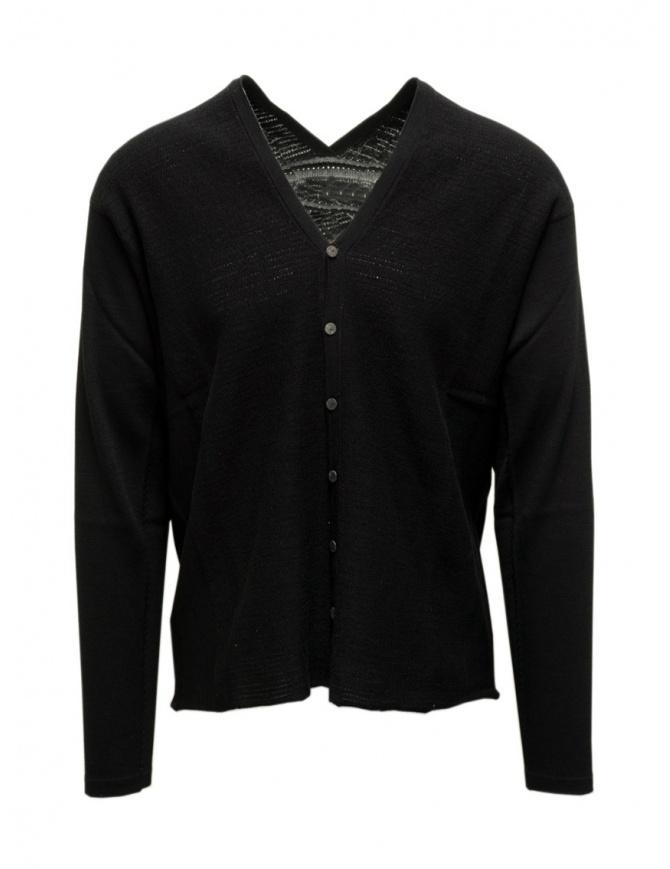 Label Under Construction maglia cardigan nero in cotone 35YXCR54 CO132 35/BK cardigan uomo online shopping