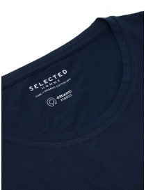 T-shirt blu navy cotone organico Selected Homme