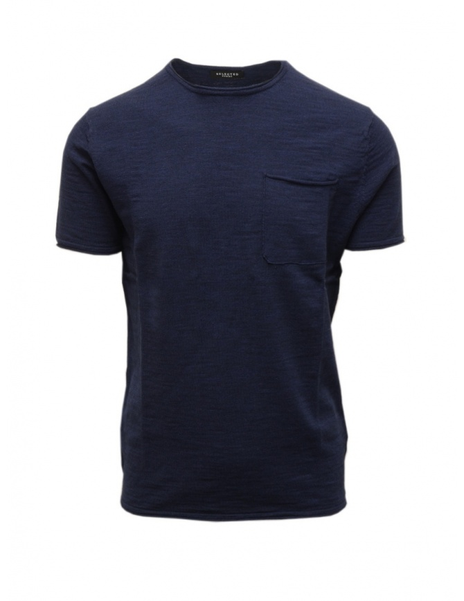 T-shirt Selected Homme colore blu con taschino 16072503 NAVY MEL. t shirt uomo online shopping