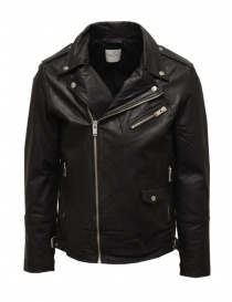 Mens jackets online: Selected Homme black leather jacket