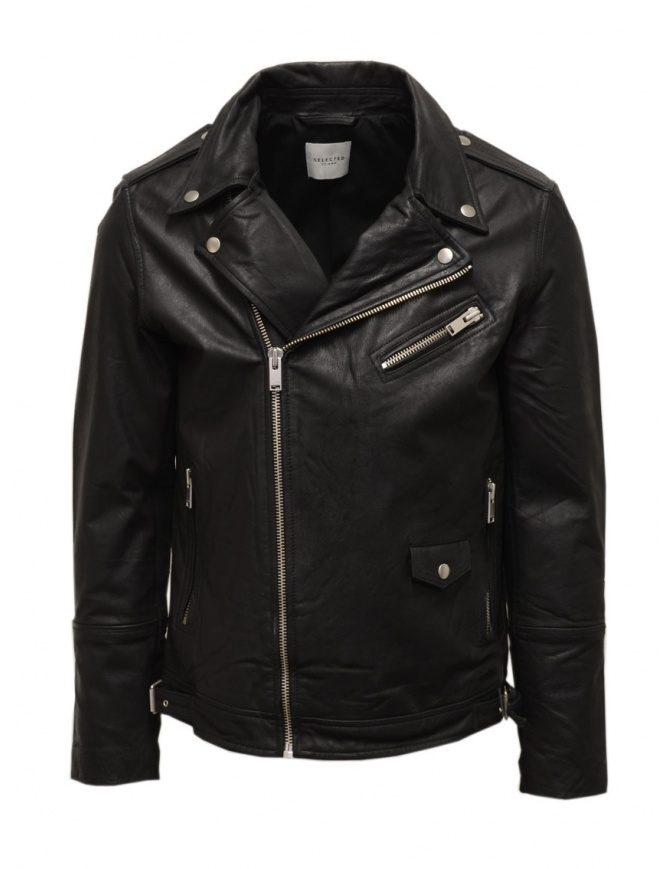 Giacca biker Selected Homme in pelle nera 16072377 BLACK giubbini uomo online shopping