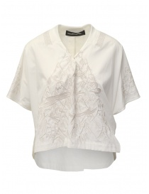 Camicie donna online: Mercibeaucoup, blusa bianco avorio con ricami frontali