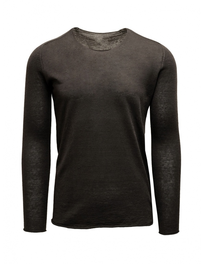 Label Under Construction maglia con bordi arricciati marrone grigia 25YMSW80 LS11 25/8 maglieria uomo online shopping