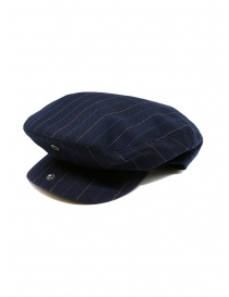 Hats and caps online: Ralph Lauren RRL blue wool striped flat cap