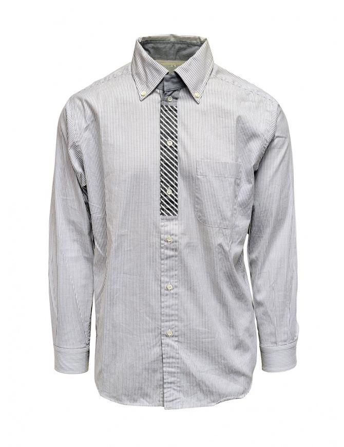 Morikage white and black check shirt W-12391-2 BLACK MRKGS mens shirts online shopping