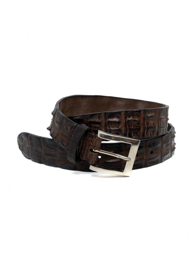 Post&Co PR43CO cintura in pelle di coccodrillo marrone PR43CO TMORO cinture online shopping