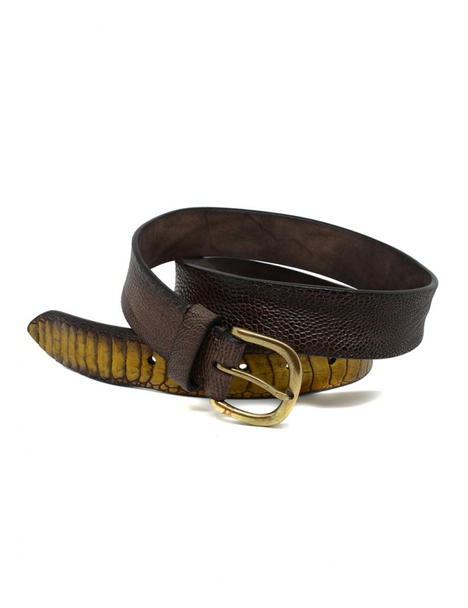 Post&Co TC317 belt in dark brown ostrich leather TC317 TMORO/GIALLO belts online shopping