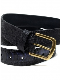 Post&Co TC317 black and blue ostrich leather belt