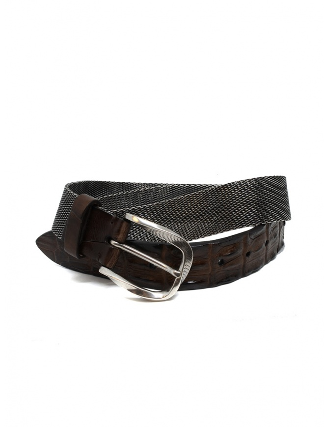 Post&Co TC366 belt in metal and brown crocodile leather TC366 TMORO belts online shopping