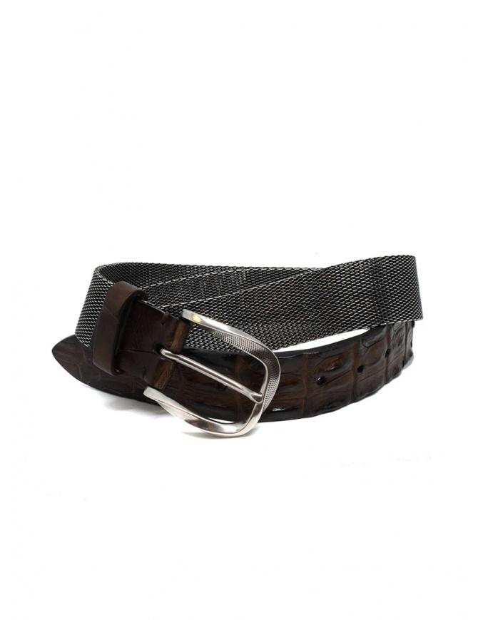 Post&Co TC366 cintura in metallo e pelle di coccodrillo marrone TC366 TMORO cinture online shopping