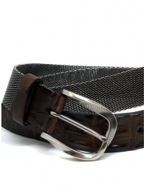 Post&Co TC366 belt in metal and brown crocodile leather