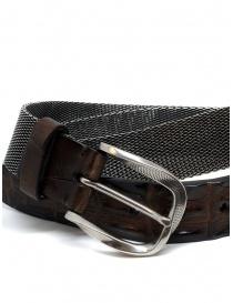Post&Co TC366 cintura in metallo e pelle di coccodrillo marrone