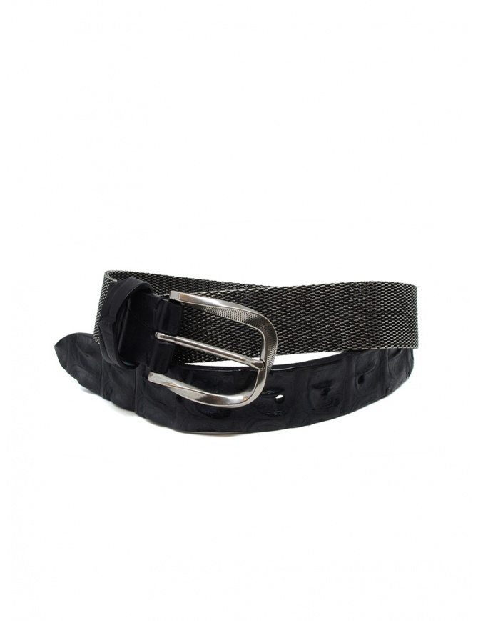 Post&Co TC366 belt in metal and black crocodile leather TC366 NERO belts online shopping