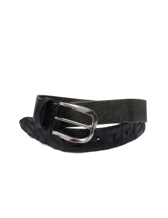 Post&Co TC366 cintura in metallo e pelle di coccodrillo nera TC366 NERO cinture online shopping