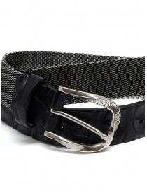Post&Co TC366 cintura in metallo e pelle di coccodrillo nera