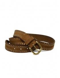 Belts online: Post&Co 8122CR cognac suede belt with studs
