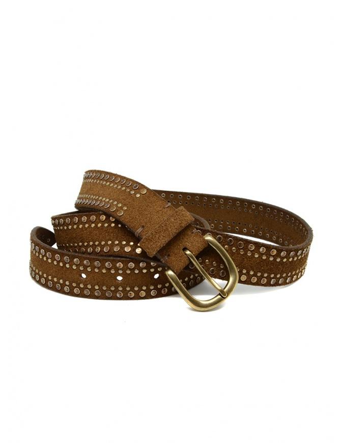 Post&Co 8122CR cognac suede belt with studs 8122CR COGNAC belts online shopping