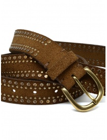 Post&Co 8122CR cognac suede belt with studs