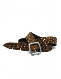 Belts online: Post&Co TC321 perforated and studded cognac suede belt