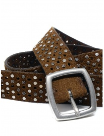 Post&Co TC321 perforated and studded cognac suede belt buy online