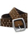Post&Co TC321 perforated and studded cognac suede belt shop online belts