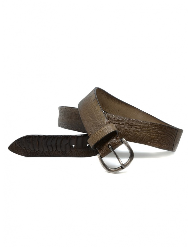 Post&Co TC316 brown and beige ostrich leather belt TC316 TMORO/BEIGE belts online shopping
