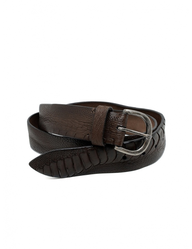 Post&Co TC316 belt in dark brown and brown ostrich leather TC316 TMORO/MARRONE belts online shopping