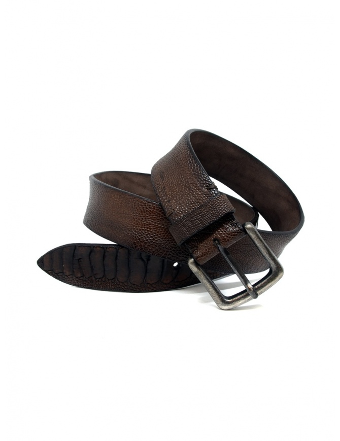 Post&Co TC316 belt in brown ostrich leather TC316 TMORO/CORROSIONE belts online shopping