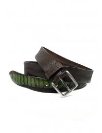 Post&Co cintura TC317 in pelle di struzzo marrone e verde online
