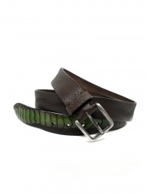 Belts online: Post&Co TC317 belt in brown and green ostrich leather