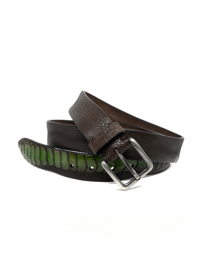 Post&Co TC317 belt in brown and green ostrich leather TC317 TMORO/VERDE belts online shopping