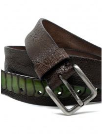 Post&Co cintura TC317 in pelle di struzzo marrone e verde