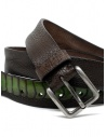 Post&Co TC317 belt in brown and green ostrich leather shop online belts