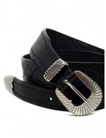 Post&Co TEX005 cintura in pelle nera e metallo