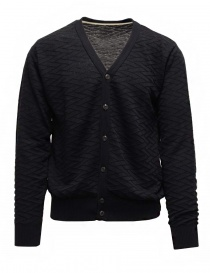 Mens cardigans online: GRP dark blue cardigan in cotton linen blend